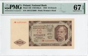 10 złotych 1948 - seria AW - PMG 67 EPQ
