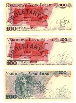 SET 3 szt 100 + 200 zł 1976/79r
