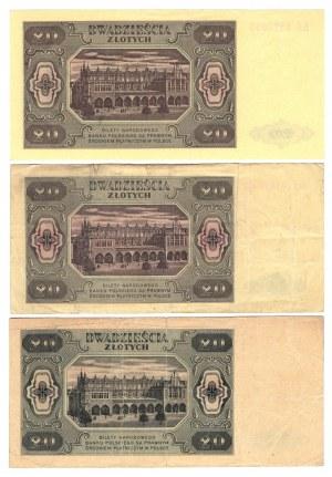 SET 3 szt. 20 złotych 1948 - MIX serii