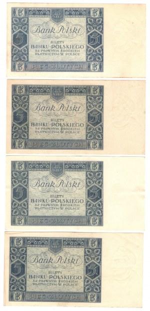 SET 4 szt. 5 złotych 1930 - MIX serii