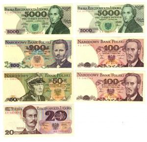 SET 7 sztuk PRL Banknoty MIX