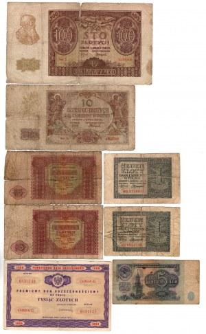 SET 8 sztuk Banknoty Polskie MIX