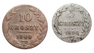 KRÓLESTWO POLSKIE - 5, 10 gorszy 1840