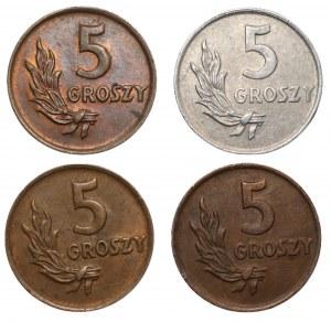 PRL - Set 4 sztuk - 5 groszy 1949