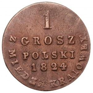 KRÓLESTWO POLSKIE - 1 grosz 1824 z MIEDZI KRAJOWEY