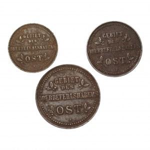 Zestaw 3 sztuk 1,2,3 kopiejki 1916 (J) Hamburg