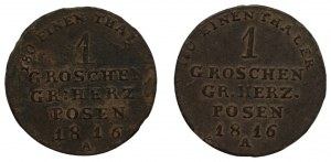 Wielkie Księstwo Poznańskie - zestaw 2 szt. 1 grosz 1816 - A