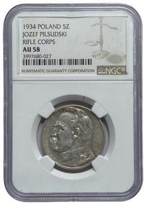 II RP - 5 złotych 1934 - Piłsudski Orzeł Strzelecki - NGC AU 58