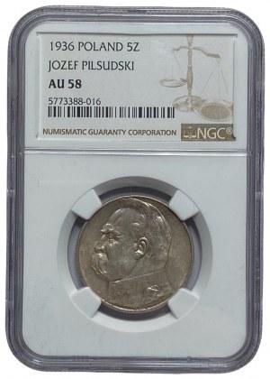 II RP - 5 złotych 1936 - Józef Piłsudski - NGC AU 58