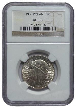 II RP - 5 złotych 1933 - Głowa kobiety - NGC AU 58