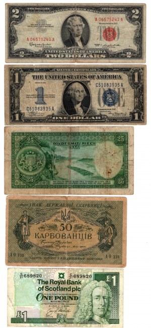 SET 5 sztuk Banknotów Świat