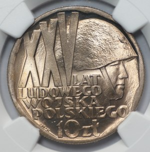 10 złotych 1968 - XXV lat Ludowego Wojska Polskiego - NGC MS66