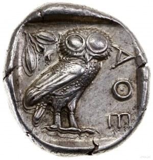 Tetradrachma, 454–404 pne; Aw: Głowa Ateny w prawo, w h...