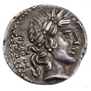 Denar, 90 pne, mennica Rzym; Aw: Głowa Apollina w wieńc...