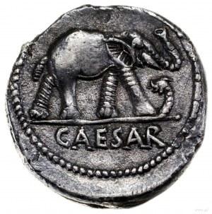 Denar, 49–48 pne, wędrowna mennica wojskowa; Aw: Słoń k...