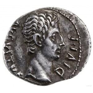 Denar, 15–13 pne, mennica Rzym; Aw: Głowa Oktawiana w p...