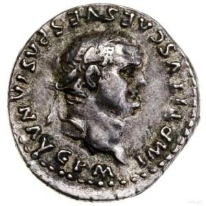 Denar, 80, mennica Rzym; Aw: Głowa cesarza w prawo, w w...