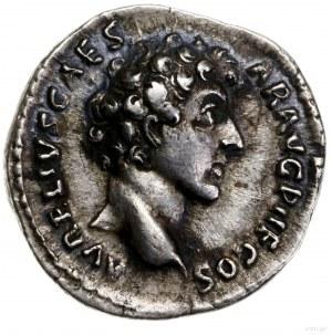 Denar, 142, mennica Rzym; Aw: Głowa cezara w prawo, AVR...