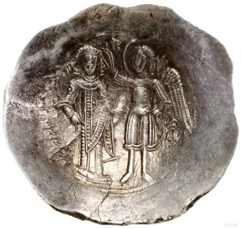 Aspron trachy, 1185–1195, mennica Konstantynopol; Aw: M...