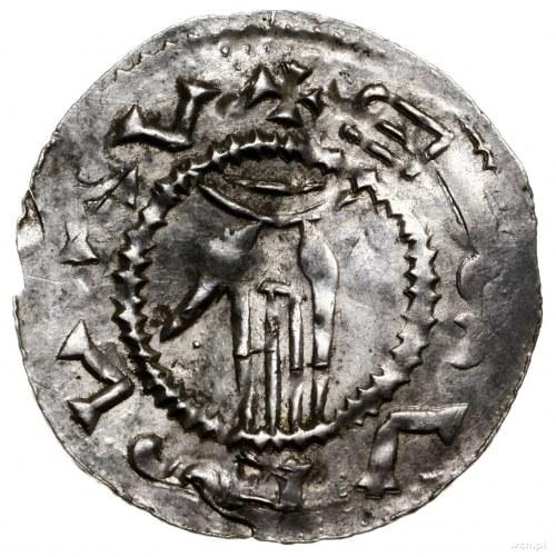 Denar, 1028–1034, mennica Ołomuniec; Aw: Dłoń opatrznoś...