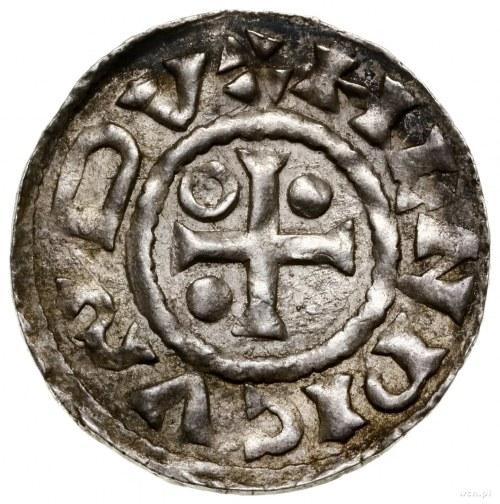 Denar, 985–995, mennica Ratyzbona, mincerz Sigu; Aw: Kr...