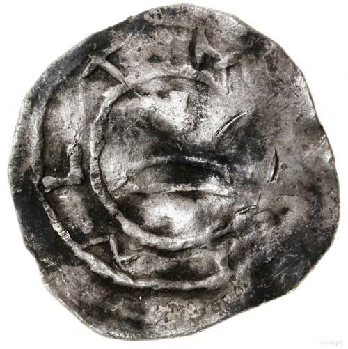 Denar, ok. 1013–1025; Aw: Wzgórze z krzyżem, wokoło pom...