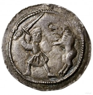 Denar; Aw: Książę na tronie z mieczem w dłoni, obok sto...