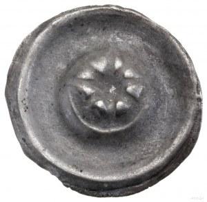 Brakteat, XIII/XIV w.; Ośmiopromienna gwiazda, niżej pó...