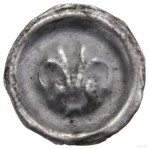 Brakteat, II połowa XIII w.; Przewiązana lilia z pręcik...