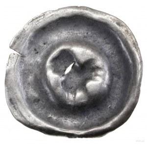 Brakteat, XIII/XIV w.; Ptak kroczący w prawo, w ogonie ...