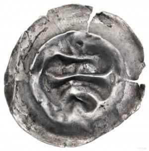 Brakteat, XIII–XIV w.; Łuk nad którym pozioma belka, na...