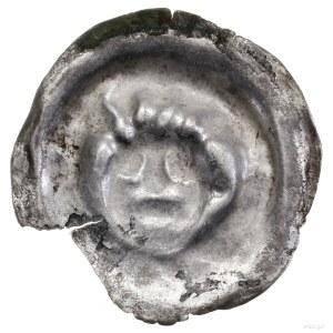 Brakteat, II połowa XIII w.; Głowa na wprost, z pięciom...