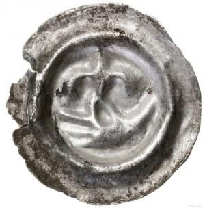 Brakteat, XIII w.; Dłoń w lewo, trzymająca lilię kciuki...