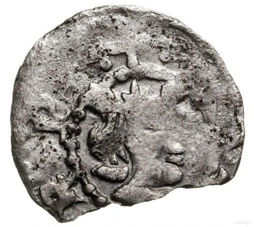 Denar Kazimierza Wielkiego, z imieniem królowej Anny (Aldony)