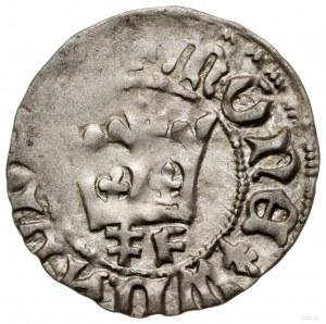 Półgrosz koronny, 1412–1414, mennica Kraków; Aw: Korona...