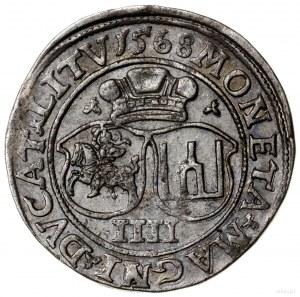 Czworak, 1568, mennica Wilno; końcówki napisów LI / LIT...