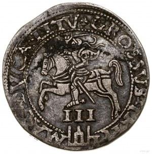 Trojak, 1562, mennica Wilno; moneta z popiersiem króla,...
