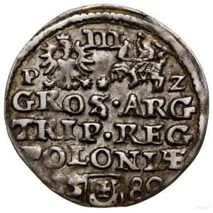 Trojak, 1580, mennica Olkusz; Aw: Mała głowa króla w pr...