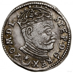 Trojak, 1581, mennica Wilno; liść lipy, znak rytownika ...