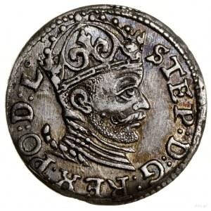 Trojak, 1585, mennica Ryga; kropka nad trójkątem z lewe...
