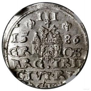 Trojak, 1586, mennica Ryga; mała głowa króla, na awersi...