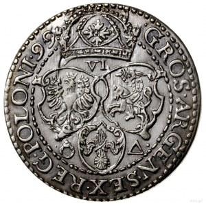 Szóstak, 1599, mennica Malbork; odmiana z małą głową kr...