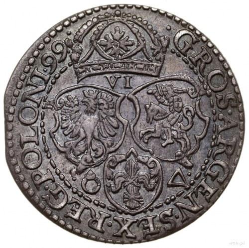 Szóstak, 1599, mennica Malbork; odmiana z dużą głową kr...