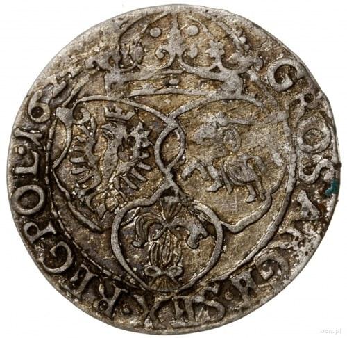 Szóstak, 1624, mennica Kraków; na rewersie bez cyfry VI...
