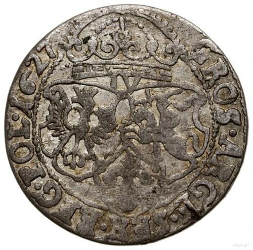 Szóstak, 1627, mennica Kraków; z omyłkową cyfrą nominał...