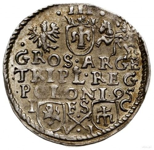 Trojak, 1595, mennica Bydgoszcz; na awersie węższa głow...