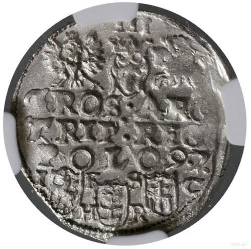 Trojak, 1597, mennica Bydgoszcz; na rewersie napis w tr...