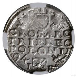 Trojak, 1594, mennica Poznań; wydłużona twarz króla, ko...
