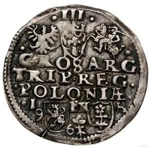 Trojak, 1596, mennica Poznań; u dołu rewersu kwiat trój...