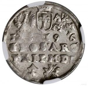 Trojak, 1596, mennica Wilno; u dołu herb Chalecki (pods...
